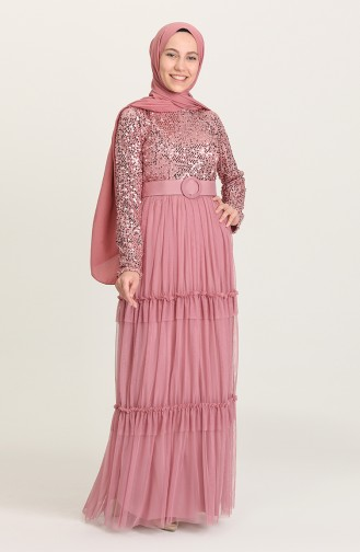 Beige-Rose Hijab-Abendkleider 1827-04