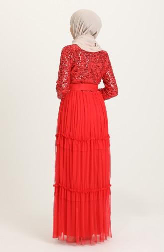 فساتين سهرة بتصميم اسلامي أحمر 1827-06