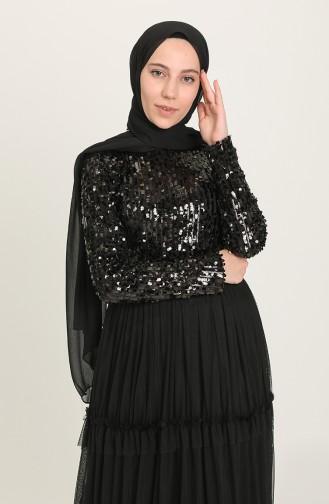 Payetli Tül Abiye Elbise 20208-06 Siyah