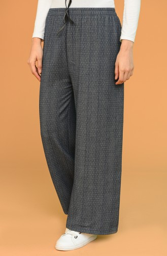 Beli Lastikli Bol Paça Pantolon 4428-01 Koyu Lacivert