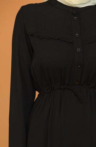 Düğmeli Büzgülü Elbise 2166-01 Siyah