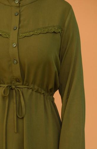 Düğmeli Büzgülü Elbise 2166-03 Haki