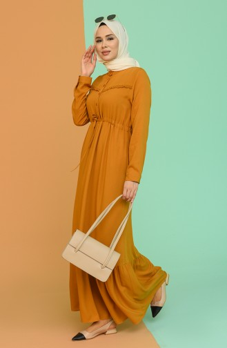 Zimtfarbig Hijap Kleider 2166-06