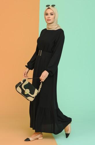 Kemerli Büzgülü Elbise 2186-01 Siyah