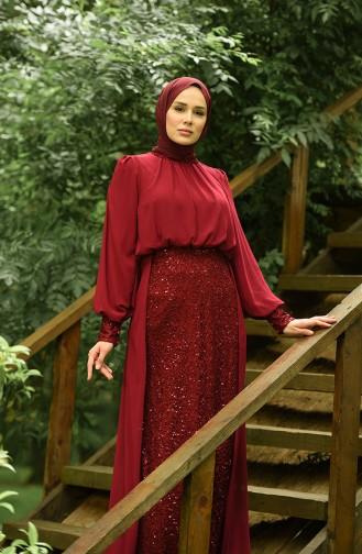 Pailletten Abendkleid 5230-05 Weinrot 5230-05