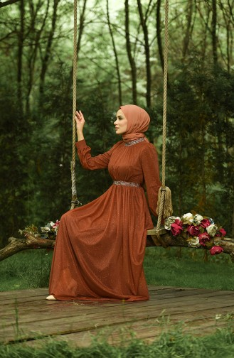 Habillé Hijab Couleur brique 4871-06