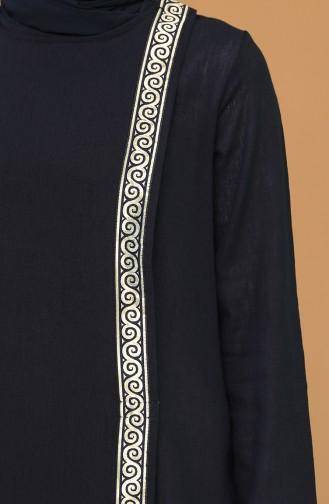 Abaya Coton 6666-01 Bleu Marine 6666-01
