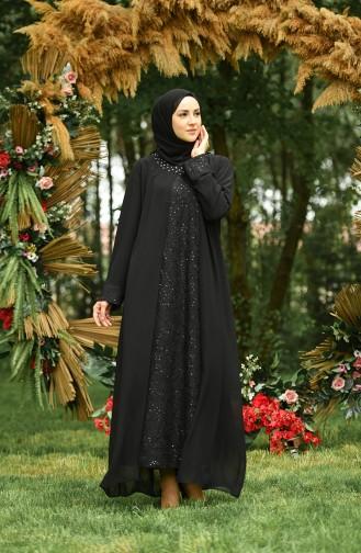 Büyük Beden Taşlı Abiye Elbise 4286-01 Siyah