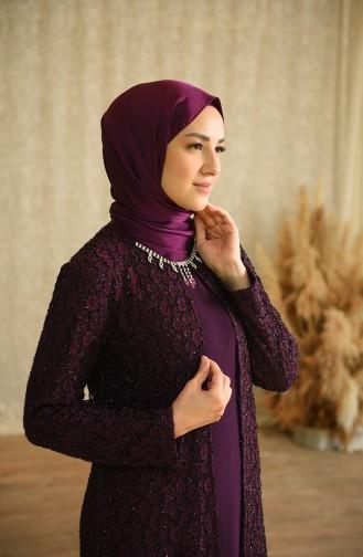 فساتين سهرة بتصميم اسلامي أرجواني 4288-02