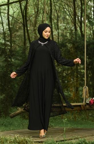 Büyük Beden Simli Abiye Elbise 4288-03 Siyah