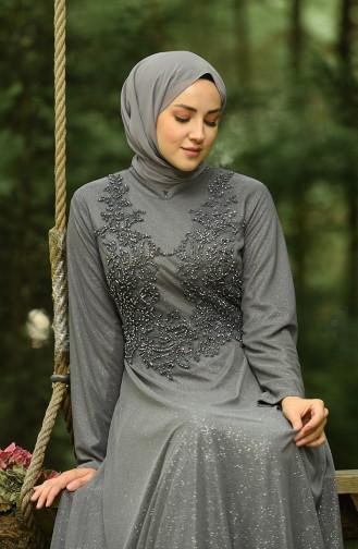فساتين سهرة بتصميم اسلامي رمادي 4292-04
