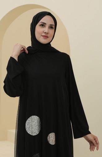 Büyük Beden Sim Garnili Abiye Elbise 6338-01 Siyah