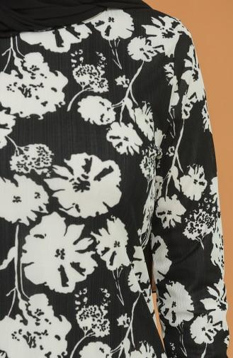 Çiçek Desenli Tunik 1553-01 Siyah