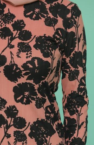 Çiçek Desenli Tunik 1553-02 Gül Kurusu