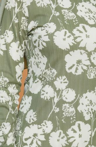 Çiçek Desenli Tunik 1553-04 Haki