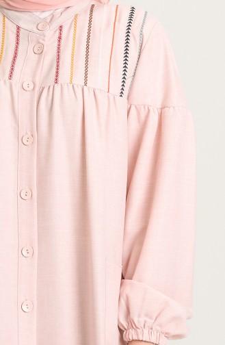 Boydan Düğmeli Nakışlı Elbise 21Y8246-10 Pudra 21Y8246-10