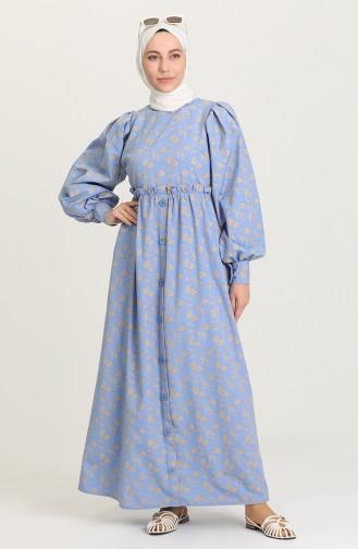 Desenli Uzun Elbise 21Y8323-03 İndigo