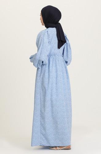 Desenli Uzun Elbise 21Y8323A-03 Mavi