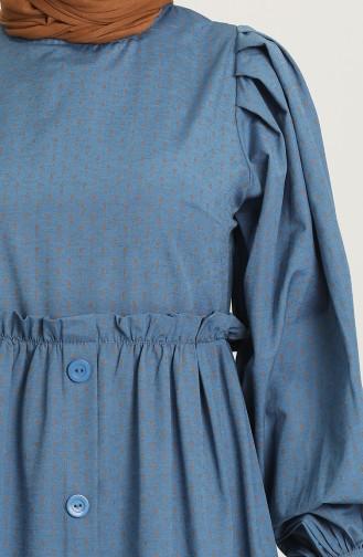 Desenli Uzun Elbise 21Y8323C-03 İndigo