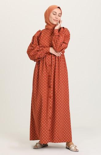 Brick Red Hijab Dress 21Y8323D-01