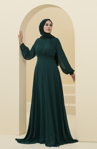 Emerald Green Hijab Evening Dress 5422-08