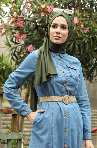 Jeansblau Hijap Kleider 6192-02