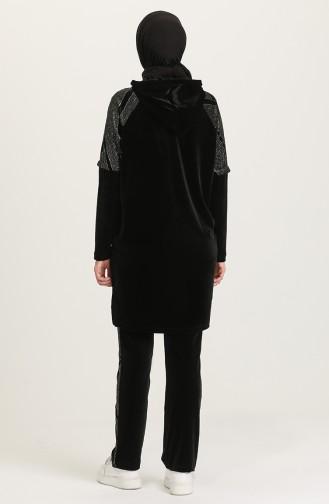 Kadın Kapüşonlu Sim Detaylı Eşofman Takımı 001-01 Siyah