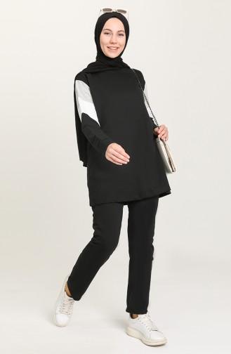 Garnili Tunik Pantolon İkili Takım 2316-01 Siyah