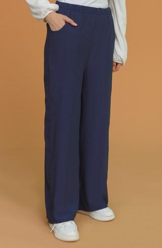 Beli Lastikli Bol Paça Pantolon 1020-05 Koyu Lacivert