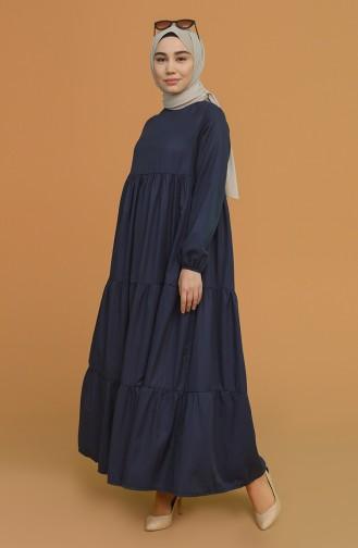 Kolu Lastikli Kat Kat Elbise 0712-02 Lacivert