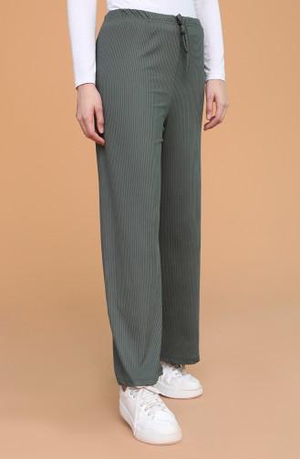 Büyük Beden Beli Lastikli Bol Paça Pantolon 0020-04 Koyu Yeşil