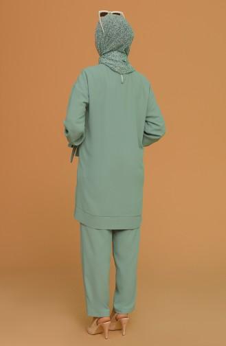 Asimetrik Tunik Pantolon İkili Takım 1001-01 Çağla Yeşili 1001-01