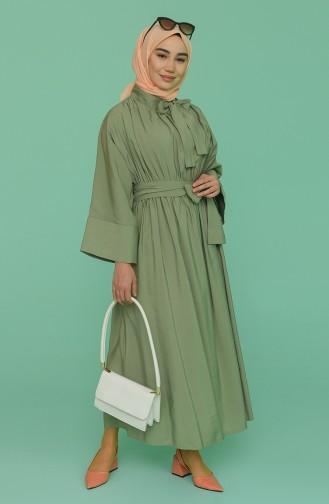 Kuşaklı Elbise 0102-01 Haki 0102-01