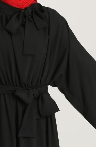 Kuşaklı Elbise 0102-03 Siyah 0102-03