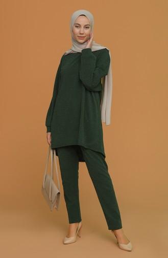 Simli Tunik Pantolon İkili Takım 2396-04 Zümrüt Yeşili