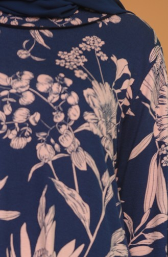 Navy Blue Hijab Dress 4552A-01