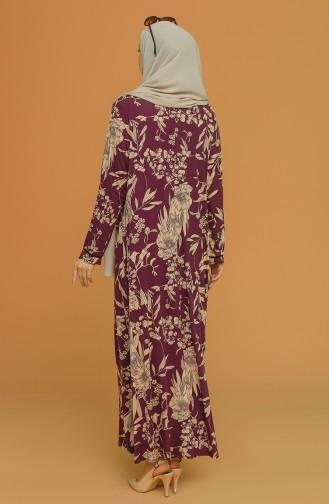 Plum Hijab Dress 4552A-02