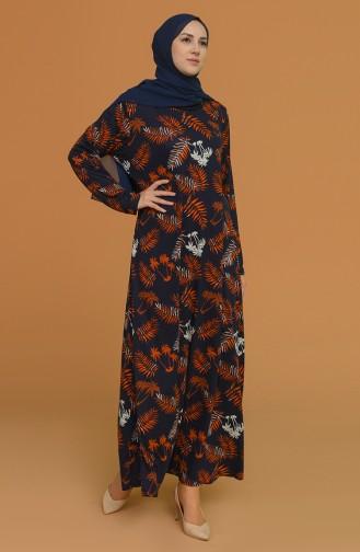 Navy Blue Hijab Dress 4552B-01