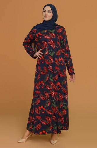 Navy Blue Hijab Dress 4552B-02