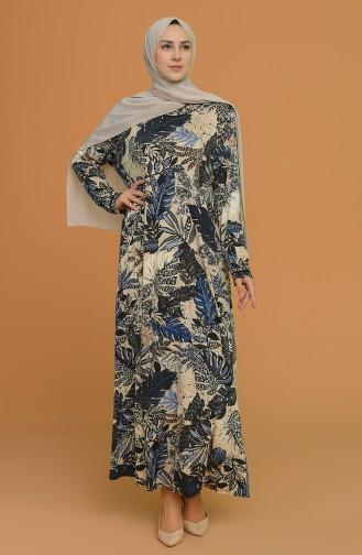 Navy Blue Hijab Dress 4552C-02
