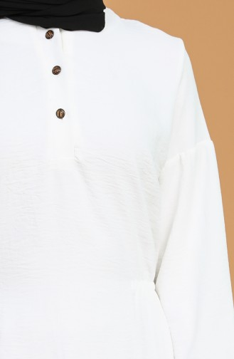 Aerobin Kumaş Düğmeli Tunik 2037-01 Beyaz