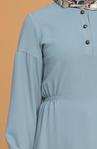 Aerobin Kumaş Düğmeli Tunik 2037-05 Mint Mavi