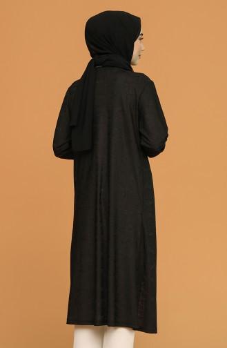Kendinden Desenli Jakarlı Hırka 8332-01 Siyah