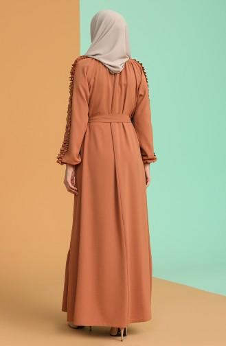 Tobacco Brown İslamitische Jurk 1007-06