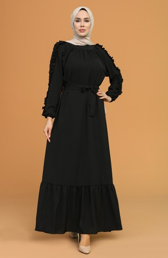 Fırfırlı Kuşaklı Elbise 1007-07 Siyah