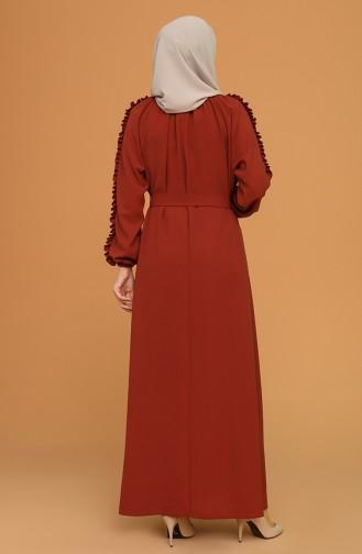 Fırfırlı Kuşaklı Elbise 1007-08 Kiremit 1007-08
