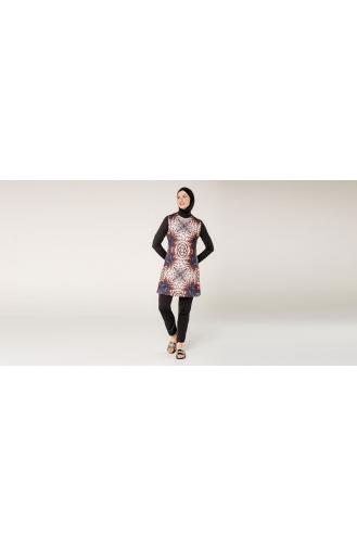 Schwarz Hijab Badeanzug 7040-01