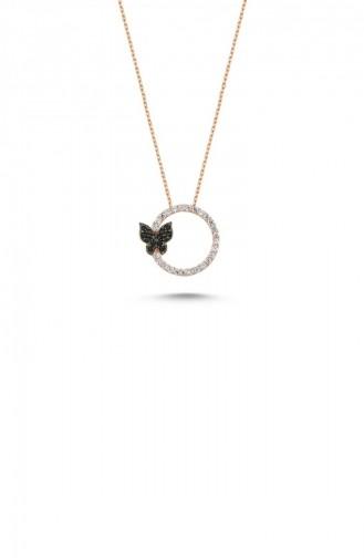 Gümüş Kelebekli Halka Kolye Rose Standart Ada0029 1701 Ada0029 1701