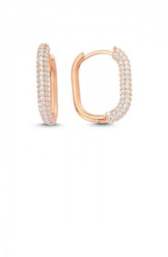 Trendy Oval Taşlı Gümüş Küpe Rose Standart Akp0016 2975