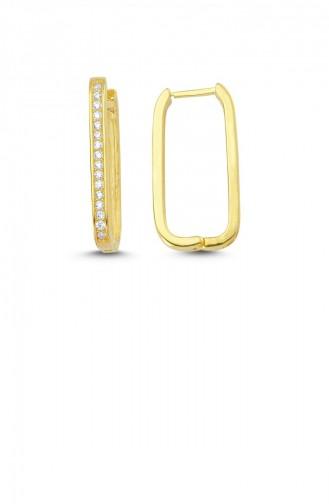 Trendy U Taşlı Gümüş Küpe Altın Standart Akp0021 2981